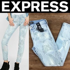 Express Light Floral Embroidered Jean Leggings